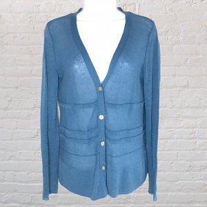 J Jill Cardigan Sweater Blue Knit Lightweight XS